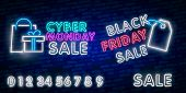 Black Friday Sale Neon Sign, Neon Banner, Background Brochure. Glowing Neon Sign, Bright Glowing Adv poster