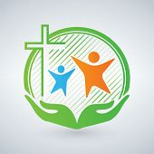 Hands Of Mercy Or Care. Christian Logo, People, Children, Women. Open Arms And Cross. The Symbol Of  poster