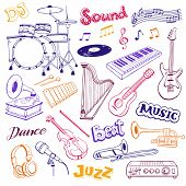 Hand Drawn Musical Instruments Isolated On White Background. Doodle Music Elements Vector Illustrati poster