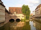 River in Nuernberg and Bavarian building