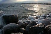 Sun rays reflecting on stones
