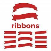Cartoon Ribbon Set Vector Illustration. Banner Ribbon Vector Set. Colored Ribbon For Decoration poster