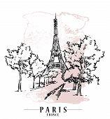 Paris Vector Illustration. Floral Backround, Vector Illustration. poster