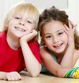 foto of happy kids  - Portrait happy kids on light background - JPG