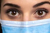 Close Up Widely Opened Eyes Of Doctor. Female Doctor In Protective Mask With Surprised Eyes Close Up poster