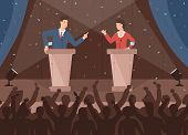 Male And Female Politicians Taking Part In Political Debates In Front Of Audience. Pair Of Governmen poster