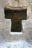 stock photo of ellora  - Stone window of Ellora caves  - JPG