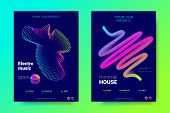 Bright Music Posters With Dj Sound Advertising. Flyer With Distorted Wave Lines. Electronic Music Ev poster