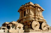 stock photo of chariot  - Ornate stone chariot in the Vittala temple in Hampi - JPG