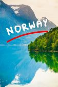 Mountains And Fjord In Norway, poster