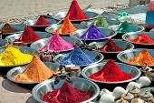 Colorful tika powders on indian market, India , Asia