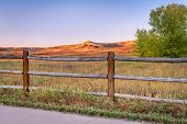sunrise on the Poudre River Trail in northern Colorado near Windsor. It is a  paved bike trail exten poster
