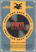 Vinyl Records Retro Music Poster. Old-fashioned Record Disk For Gramophone Device. Vintage Vector Dr poster