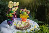 Near The Pond Table With Desserts, Candy Bar For Childrens Birthday, Marshmallows, Candy And Muffin poster