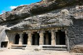 Facade of ancient Ellora rock carved Buddhist temple, cave No.14  Aurangabad, Maharashtra, India