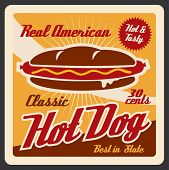 Hot Dog, American Fast Food. Vector Roll With Sausage, Ketchup And Mustard, Hot And Tasty Takeaway S poster