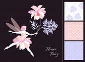Beautiful Winged Fairy Girl With Flower. Card And Set Of Seamless Patterns In Tender Colors. Fashion poster