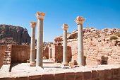 Remains of the Blue Church. Ancient city of Petra, Jordan