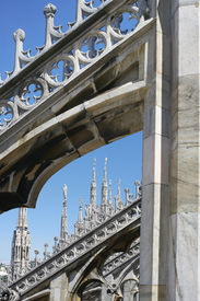 picture of domme  - Rooftop detail of Milan Cathedral  - JPG