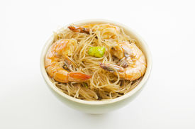 stock photo of pancit  - Close up of pansit bihon a Filipino noodle dish  - JPG