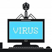 Bacteriófago infectando computadoras con Virus