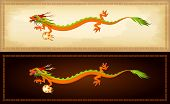 horizontal banners with illustration of beautiful chinese dragon