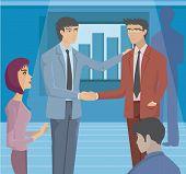 zwei Geschäftsleute, die Hände schütteln