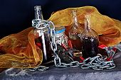 Still life with bottles and other objects