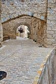 stock photo of ares  - Streets of the small old spanish town Ares - JPG
