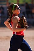 Female Softball Player Runs From Outfield To Dugout