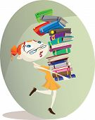 stock photo of librarian  - A cartoon librarian carries a huge pile of books.
