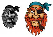 foto of buccaneer  - Old pirate captain head for mascot design - JPG