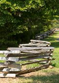 stock photo of split rail fence  - Traditional split rail fence by side of woods or forest - JPG