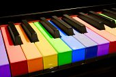 picture of rainbow piano  - color isolated piano keys in the colors of the rainbow - JPG