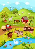 picture of bird fence  - vector illustration of a cute farm card - JPG