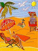 Постер, плакат: Люди расслабляющий и дла на пляже