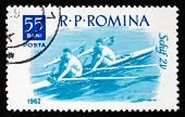 Postage Stamp Romania 1962 2-man Skiff, Water Sport