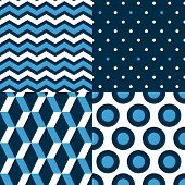 Marine seamless patterns collection in blue black and white - chevron, dots, stripes, circles, vecto
