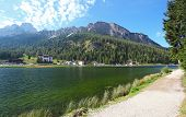 Lake Misurina In Italy Mountain Dolomites