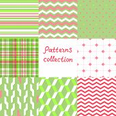Simple geometric seamless patterns set in red and green, vector
