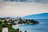 Town Of Gradac On Makarska Riviera And Island Brac In Background, Croatia