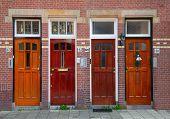 Doors on the brick wall