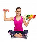 stock photo of healthy eating girl  - healthy eating and exercise for weightloss diet concept - JPG