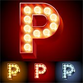 Vector illustration of realistic old lamp alphabet for light board. Red Gold and Silver options. Letter P