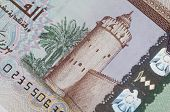 An extreme close up of UAE Dirham currency note