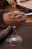 foto of chocolate spoon  - A cup of gourmet chocolate pudding - JPG