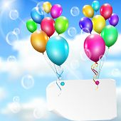Multicolored Balloons With Paper Card