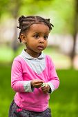 Outdoor Close Up Portrait Of A Cute Little Young Black Girl - African People