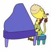 Dibujos animados jirafa tocando el Piano