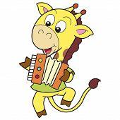 Girafa dos desenhos animados, tocando uma sanfona